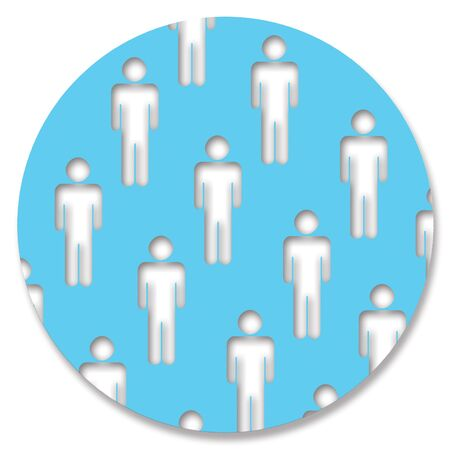 genders: Man silhouettes in blue circular background Stock Photo