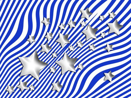 transmutation: Silver stars on blue stripes background