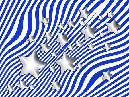 blue stripes: Silver stars on blue stripes background