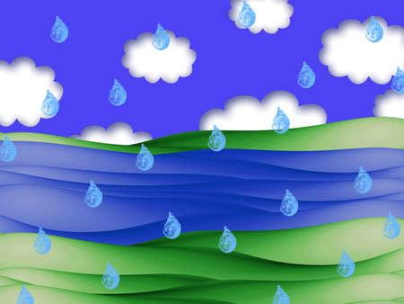 raining: Raining on a river landscape illustration