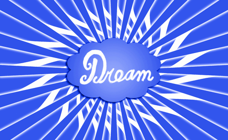 idealized: Blue dream cloud on radial background