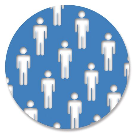 aligned: Man shapes in blue circle Stock Photo