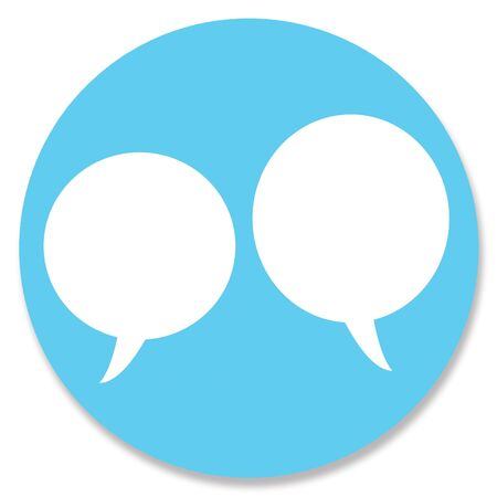 chat bubbles: Chat bubbles couple in blue circle Stock Photo