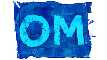 mantra: Blue om mantra of paint Stock Photo