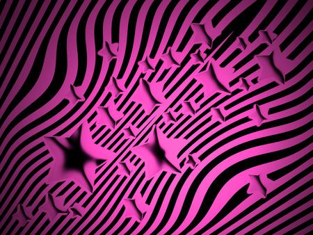 transmutation: Pink stars on black stripes background Stock Photo