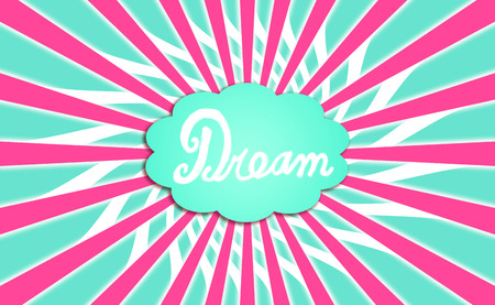 Dream cloud with pink rays background