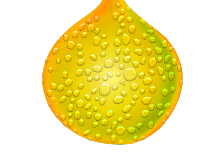 metalized: Yellow wet drop isolated on white Stock Photo