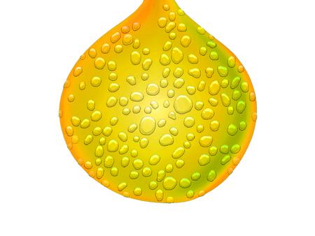 sweaty: Yellow wet drop isolated on white Stock Photo