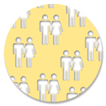 pale yellow: Couples shapes in pale yellow circle Stock Photo