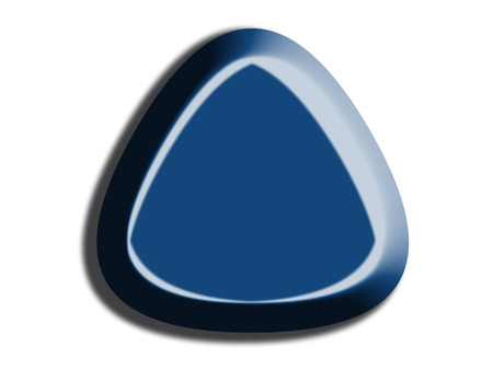 one colour: Dark blue triangular button 3D shape on white