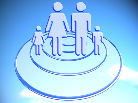 to foresee: Family target business marketing blue stock image