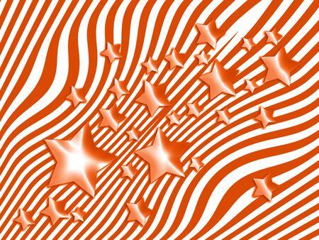 wet flies: Orange stars on striped background