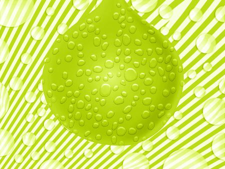 transmutation: Green wet drop balloon on striped abstract background