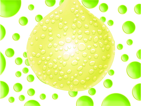 yellowish: Yellowish green big balloon with drops abstract background