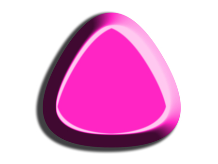 triangle button: Pink triangle 3D button shape isolated on white background Stock Photo