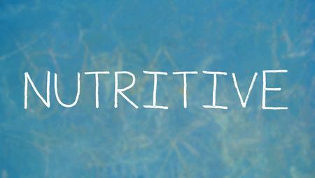 nutritive: Nutritive caps chalk letters word on blue