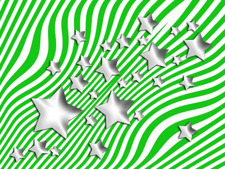 transmutation: Silver stars on psychedelic lines green abstract background