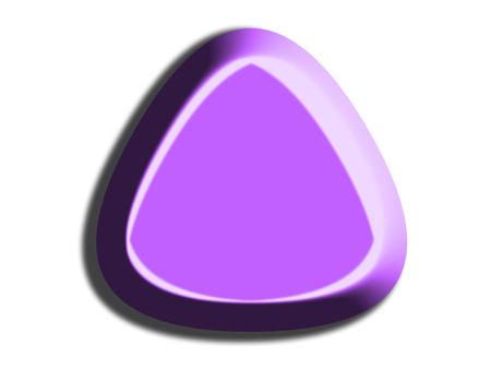 Triangular 3d candy purple shape of rounded corners on white background Stock Photo