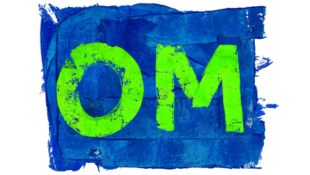 blue green background: Green painted om sylabe on blue background Stock Photo