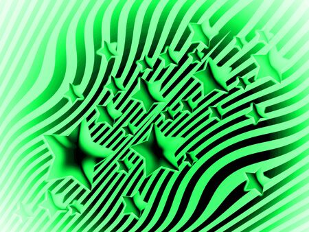 transmutation: Green and black striped background with stars Stock Photo