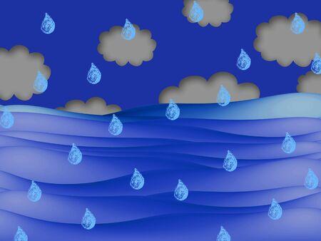 raining: Raining on sea illustration Stock Photo