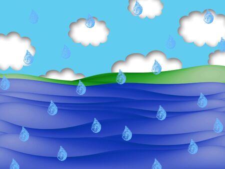 coast: Rain on coast illustration Stock Photo