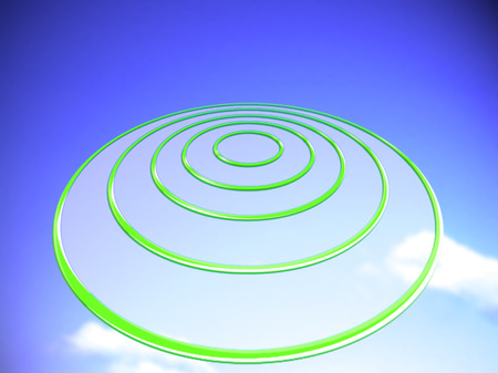 blue circles: Green target circles on blue Stock Photo