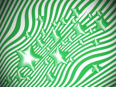 Green stars and lines background Stock Photo