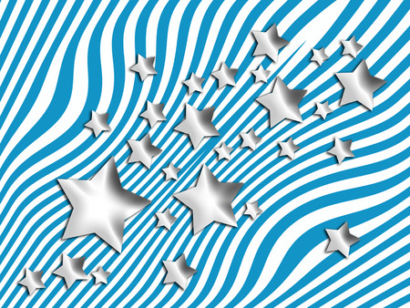 silver stars: Silver stars on blue striped background