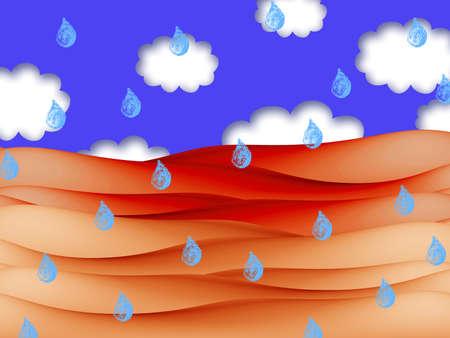 beach rain: Rain on orange beach illustration under blue sky with clouds