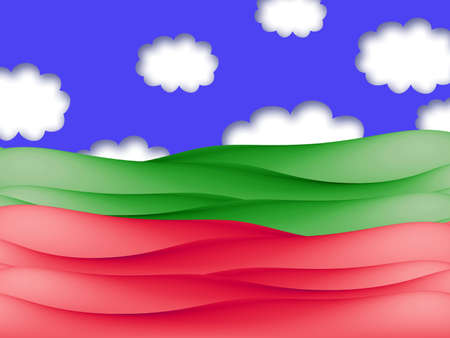 green fields: Red and green fields under blue sky and clouds illustration