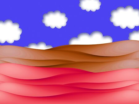 soils: Red and brown soils field abstract illustration with blue sky and clouds