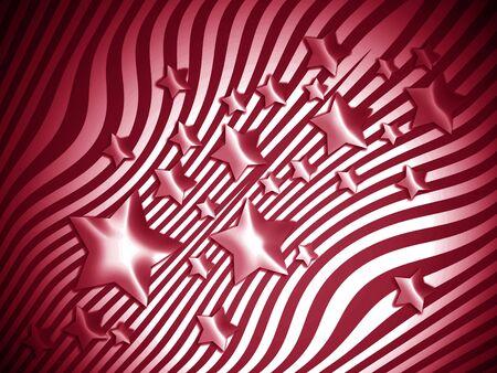 transmutation: Red brilliant stars on stripes background