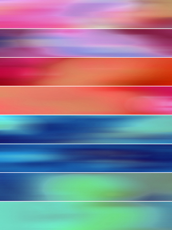 sequences: Warm and cold red and blue abstract blurs backgrounds banners set Stock Photo