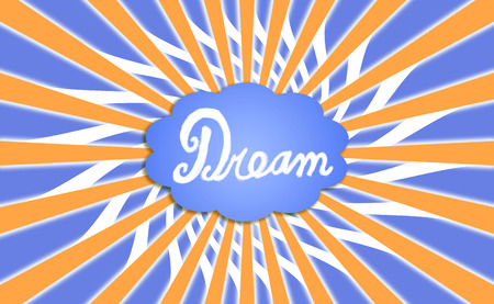Blue dream cloud and orange rays Stock Photo
