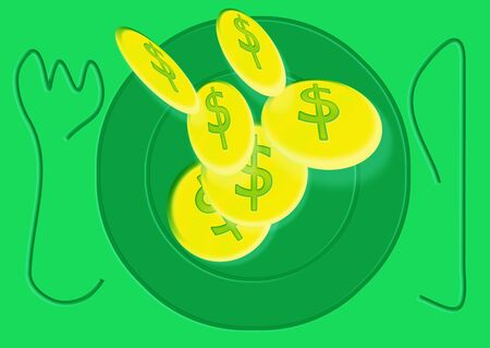 ochre: Gold coins illustration falling on green plate