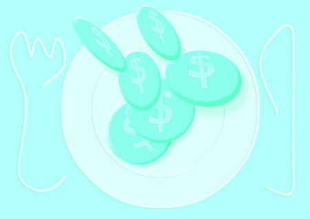 Light blue coins falling on empty plate illustration