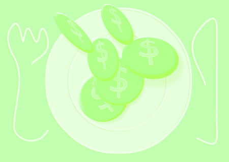 Green coins falling on a plate conceptual image Stock Photo
