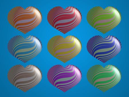 Colorful hearts shapes set stock image Stock Photo
