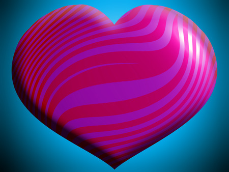 Pink and purple heart shape on blue background