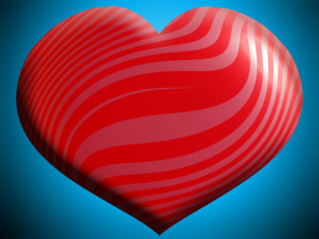 Red striped heart shape background on blue