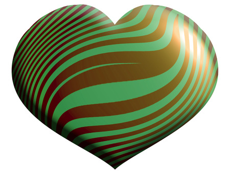 aniversaries: Gold and green stripes heart shape isolated on white
