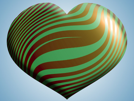 Green and gold stripes heart shape background Stock Photo