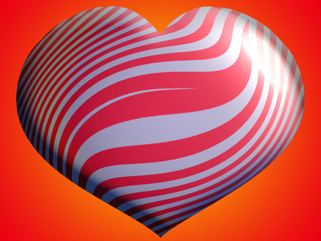Red stripes on heart shape background