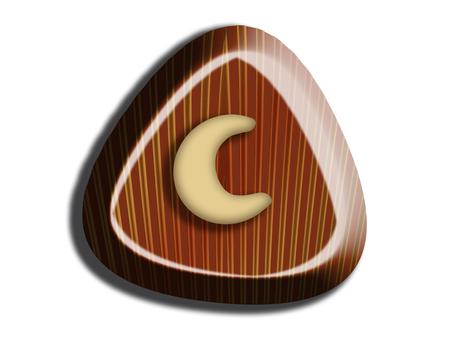 Triangular chocolate with cashew nut