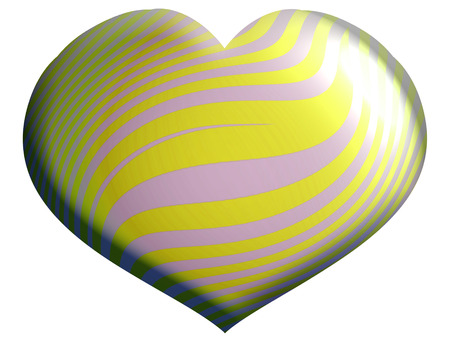 aniversaries: Yellow striped heart isolated on white