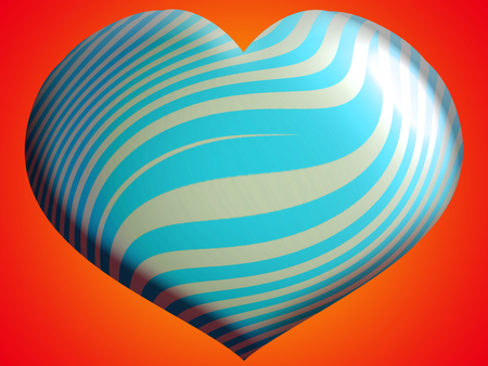Blue striped heart background Stock Photo