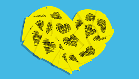 Love card with hearts