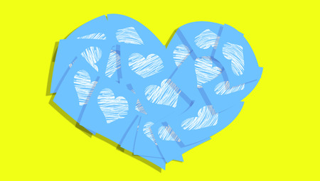 Blue heart with hearts on yellow background