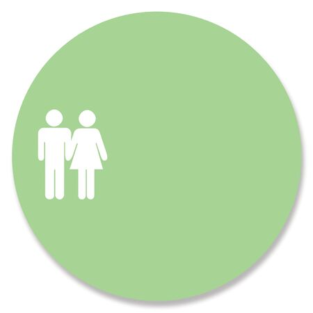 rounded circular: Heterosexual couple in green circle background